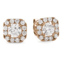 HER144 Designer Round Halo Diamond Earrings - rose