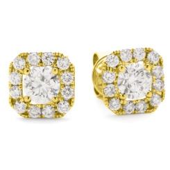 HER144 Designer Round Halo Diamond Earrings - yellow
