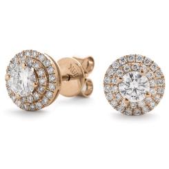 HER145 Designer Double Halo Diamond Earrings - rose