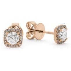 HER146 Round Cushion Halo Diamond Earrings - rose