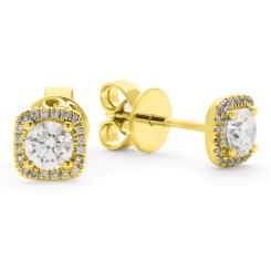HER146 Round Cushion Halo Diamond Earrings - yellow