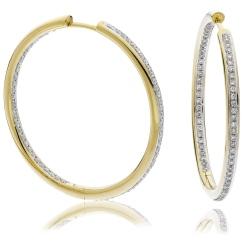 HER151 Brilliant cut Drop & Hoop Diamond Earrings - yellow