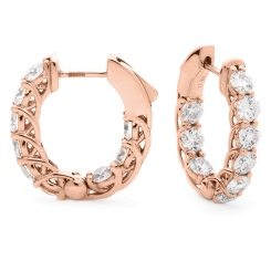 HER156 Round cut Designer Diamond Drop Earrings - rose