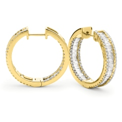 HER159 Round & Baguette Designer Drop Earrings - yellow