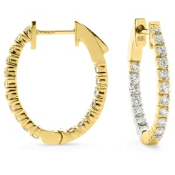 HER163 Unique Round Hoop Diamond Earrings - yellow