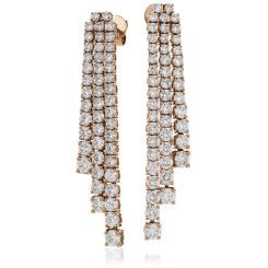 HER203 Three Row Drop Diamond Earrings - rose