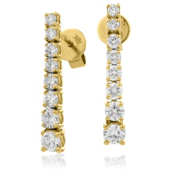 HER204 Brilliant cut Journey Diamond Earrings - yellow