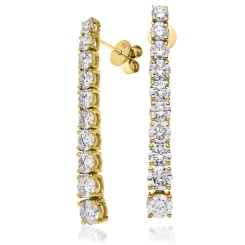 HER210 Round cut Diamond Journey Earrings - yellow