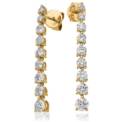 HER212 Three Claw Diamond Journey Earrings - yellow