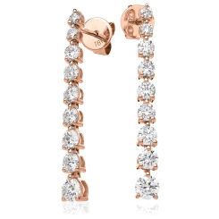 HER212 Three Claw Diamond Journey Earrings - rose
