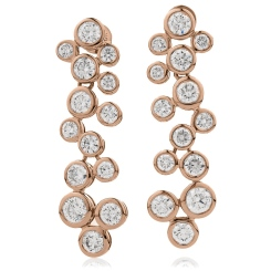 HER215 ZigZag Diamond Drop Earrings - rose