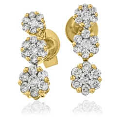 HER217 Trilogy Cluster Journey Diamond Earrings - yellow