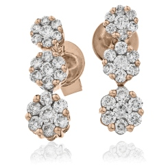 HER217 Trilogy Cluster Journey Diamond Earrings - rose