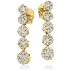 HER219 Five Cluster Journey Diamond Earrings - yellow
