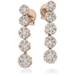 HER219 Five Cluster Journey Diamond Earrings - rose