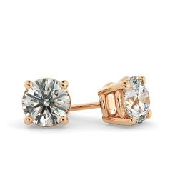HER22 Round Stud Diamond Earrings - rose