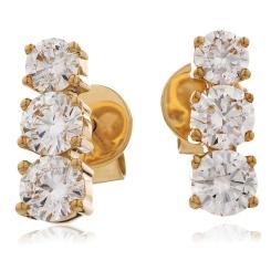 HER234 Trilogy Round Diamond Journey Earrings - rose