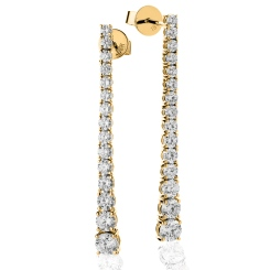 HER235 Line Design Diamond Journey Earrings - yellow