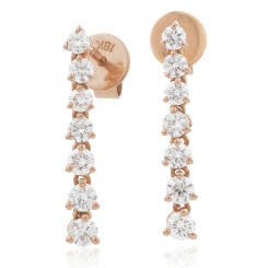 HER236 Linear Diamond Journey Earrings - rose