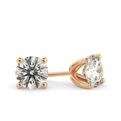 HER23 Round Stud Diamond Earrings - rose