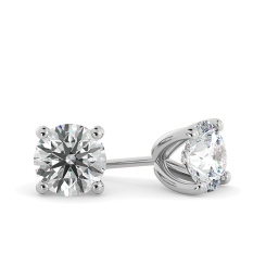 HER23 Round Stud Diamond Earrings - white