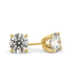 HER23 Round Stud Diamond Earrings - yellow