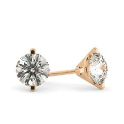 HER24 Round Stud Diamond Earrings - rose