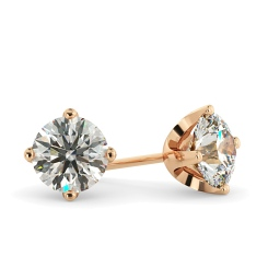 HER25 Round Stud Diamond Earrings - rose