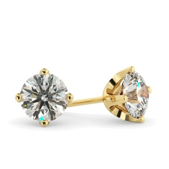 HER25 Round Stud Diamond Earrings - yellow