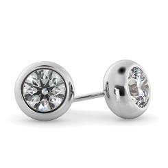HER26 Round Stud Diamond Earrings - white