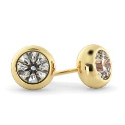 HER26 Round Stud Diamond Earrings - yellow