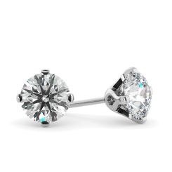 HER27 Round Stud Diamond Earrings - white