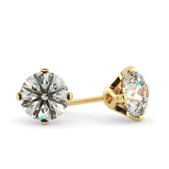 HER27 Round Stud Diamond Earrings - yellow