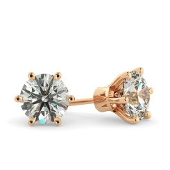 HER28 Round Stud Diamond Earrings - rose