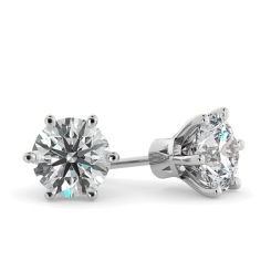 HER28 Round Stud Diamond Earrings - white