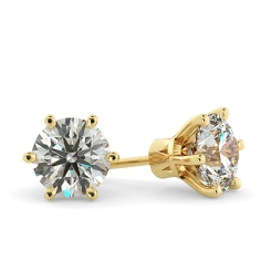HER28 Round Stud Diamond Earrings - yellow