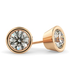 HER33 Round Diamond Stud Earrings - rose