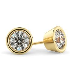 HER33 Round Diamond Stud Earrings - yellow