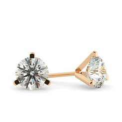 HER34 Round Diamond Stud Earrings - rose