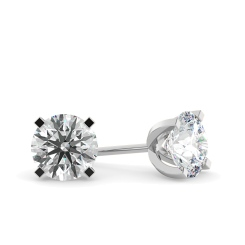HER35 Round Diamond Stud Earrings - white