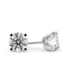 HER35 Round Diamond Stud Earrings - white