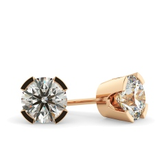 HER36 Round Diamond Stud Earrings - rose