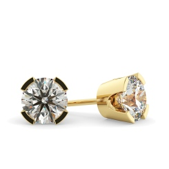 HER36 Round Diamond Stud Earrings - yellow