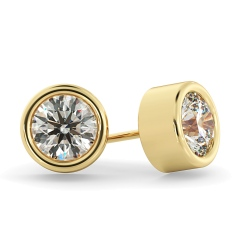 HER37 Round Diamond Stud Earrings - yellow