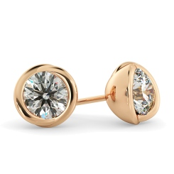 HER38 Round Diamond Stud Earrings - rose