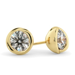 HER38 Round Diamond Stud Earrings - yellow