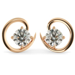 HER39 Round Stud Diamond Earrings - rose