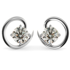 HER39 Round Stud Diamond Earrings - white