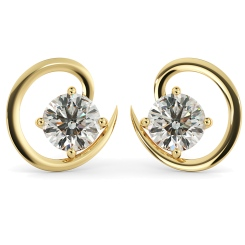 HER39 Round Stud Diamond Earrings - yellow