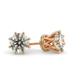 HER43 Round Stud Diamond Earrings - rose